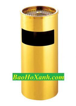 Thùng Rác Inox Mạ Vàng Có Gạt Tàn Thuốc - TRA0058