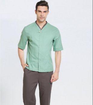 Đồng phục spa nam thiết kế đơn giản sang trọng chất liệu vải tốt