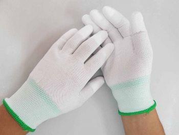 Găng tay poly phủ PU đầu ngón