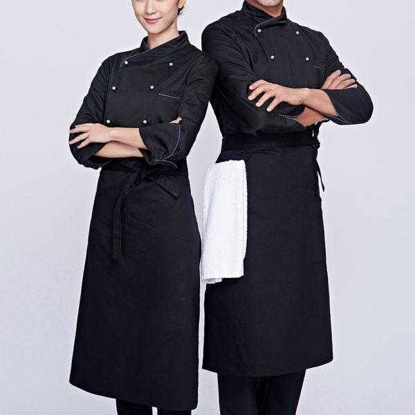 Áo Đầu Bếp Nam Nữ Với Thiết Kế Màu Đen Sang Trọng - DDB0013